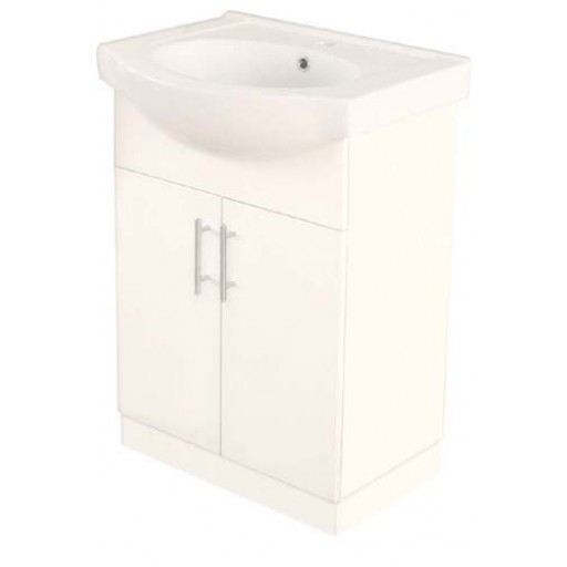 Aries 600mm Semi-Recessed Vanity Unit 1 Tap Hole Kickboard Solid Door