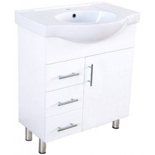Aries 750mm Semi-Recessed Vanity Unit 1 Tap Hole Legs Glass Doors Right Hand Draws