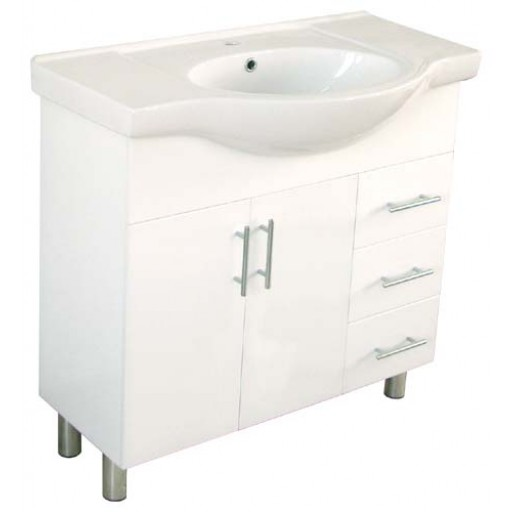 Aries 900mm Semi-Recessed Vanity Unit 3 Tap Hole Legs Glass Doors Left Hand Draws