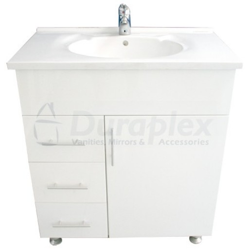 Bonito 750mm Vanity Unit 3 Tap Hole Legs Glass Doors Left Hand Draws