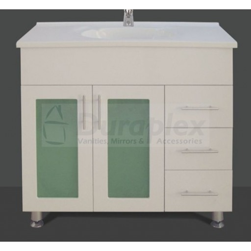Bonito 900mm Vanity Unit 3 Tap Hole Legs Glass Doors Right Hand Draws