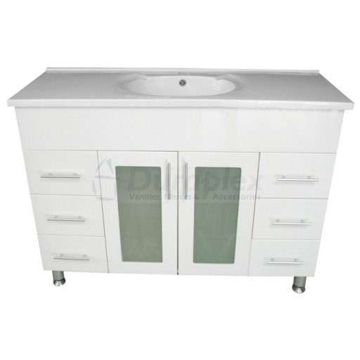 Bonito 1200mm Vanity Unit 1 Tap Hole Legs Glass Doors