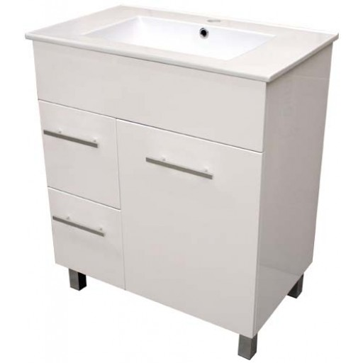 Demeter 750mm Vanity Unit 1 Tap Hole Legs Glass Doors Left Hand Draws