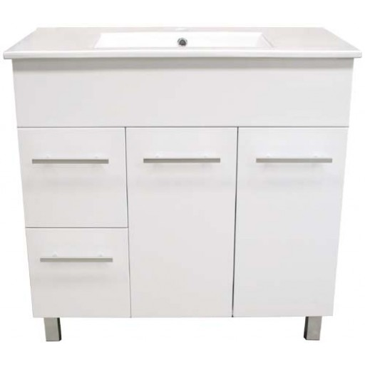 Demeter 900mm Vanity Unit 3 Tap Holes Legs Glass Doors Left Hand Draws