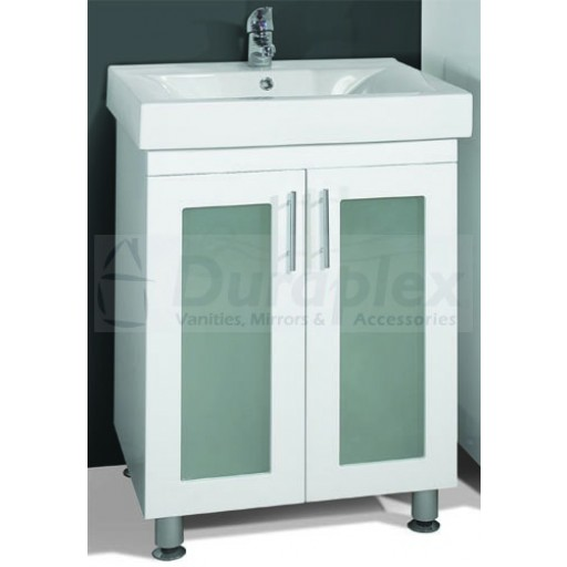 Zeus 600mm Vanity Unit 1 Tap Hole Legs Glass Doors