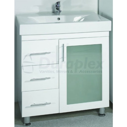 Zeus 750mm Vanity Unit 3 Tap Holes Legs Glass Doors Right Hand Draws