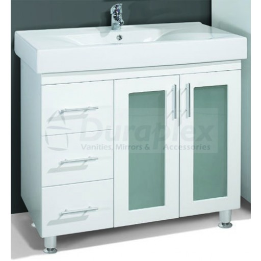 Zeus 900mm Vanity Unit 3 Tap Hole Kickboard Glass Doors Left Hand Draws