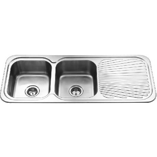 Double Bowl Sink with Drainer Rigt hand Bowl
