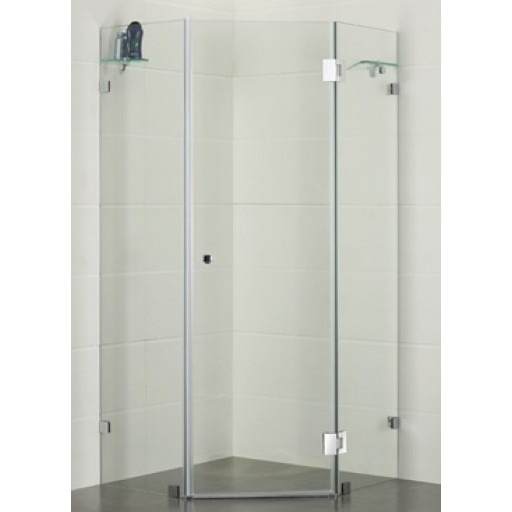 P & P Diamond shaped, Frameless Shower Screen PLT2001 1000x1000x1950