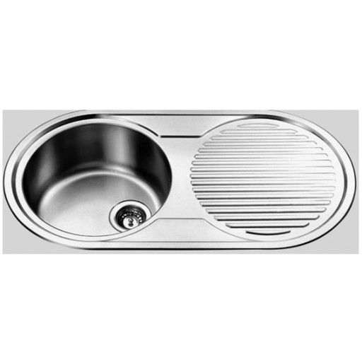 Round Single Bowl Sink with Drainer Right Hand Bowl