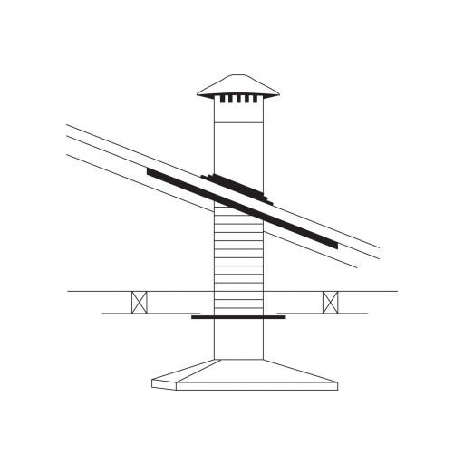 Rangehood Flue Kit - Vertical - to suite steel roof 125mm