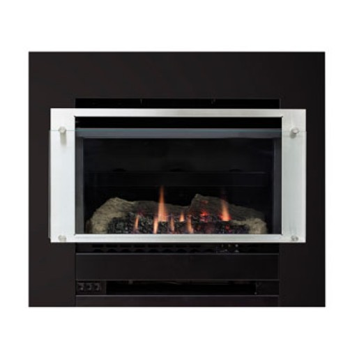 Slimfire 252 Inbuilt - Stainless Steel on Black Fascia - SIBF1 & SIB1N
